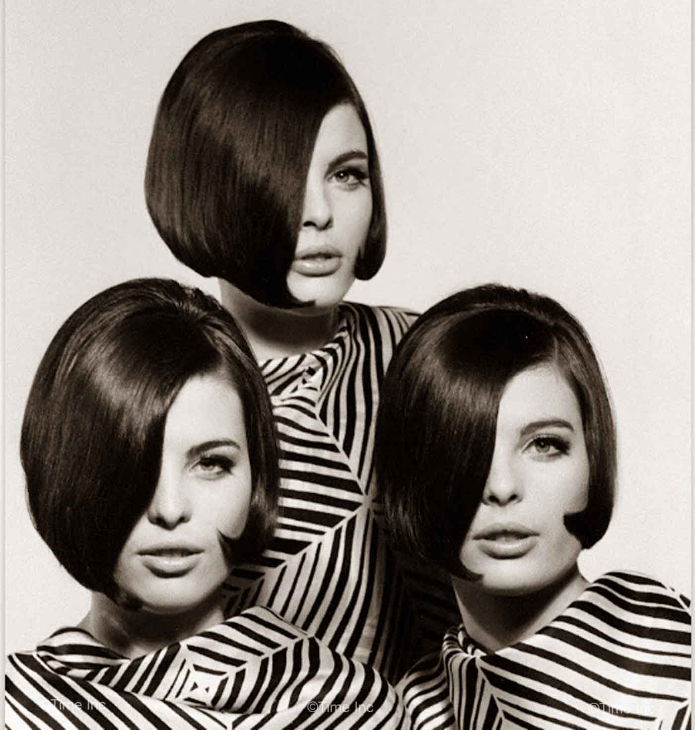 Christina--Katha-and-Megan-Dees---Sassoon-CutTriplets-1964c---Nina-Leen