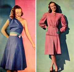 "Some early post war summer styles To the left - actress Diana Lynn sports Henry Rosenfield's superbly cut ""sun dress"" of Loomshire cotton poplin. It has a tiny separate jacket to cover its one bare shoulder ! To the right - a lustrious melin colored tropical worsted by Junior Deb. Gracefully balooned sleeves with the new ""dropped shoulder"" line. To the left, this rayon garbardine beauty will be the most versatile thing in your wardrobe. With flats and a beanie, wear it to school. With your big black straw hat plus a pair of black shortie gloves - wear to the dance ! The middle dress - is a two piece battle-jacketed honey. Skirt is tailored to a T. It can be worn casual as here or with a white ascot, hat and gloves. Frock in the far right is a charmer of a two piecer, with its expensive looking dressmaker touches that are found in dresses twice the price. All these Gail Gray Junior Classics are made by the Jack Wasserman Company. Our next three summer frocks are particularly sweet. To the left, airy dotted swiss makes this enchantingly prim little number, with its white ruffles outlining neck and armholes, and that new dropped waistline look. To the center: Feminine and fragile is the way you will look in this bare-shouldered plaid cotton. It is as fitted as can be, and the skirt is very full. Shoestring bows which you tie yourself. Very pretty. To the right: This striped seersucker ( puckered) is something out of a fairy tale, with its double puffed sleeves, its beruffled skirt. Alol these wonderful dresses are by that brilliant designer, Dorris Varnum, of Jonathan Logan. That's all ©Glamourdaze 2015 Original text from 1946 Modern Screen"