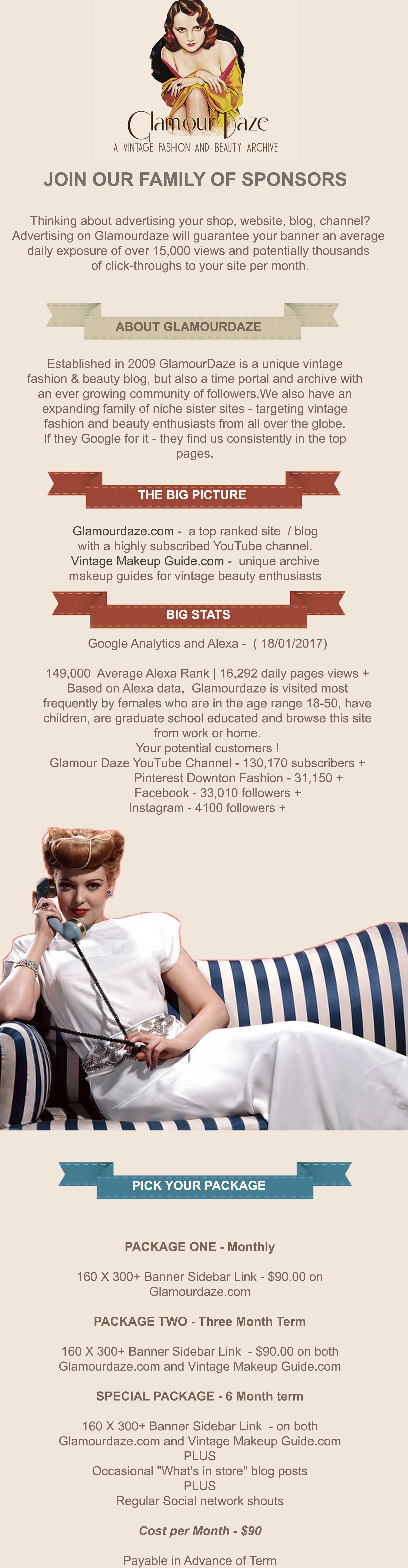 advertise of top vintage blog Glamourdaze