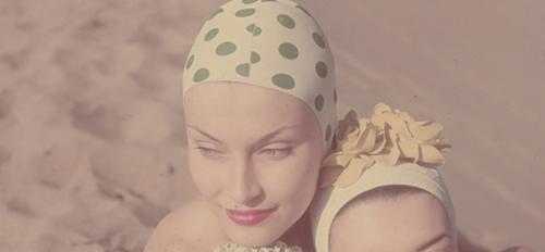 1950s polka dot swimcaps