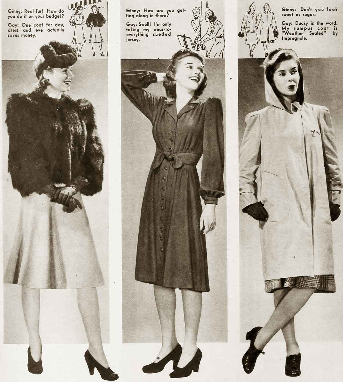 Winter fashion 1941. Smart furs, frocks and coats for winters in the early 1940's.