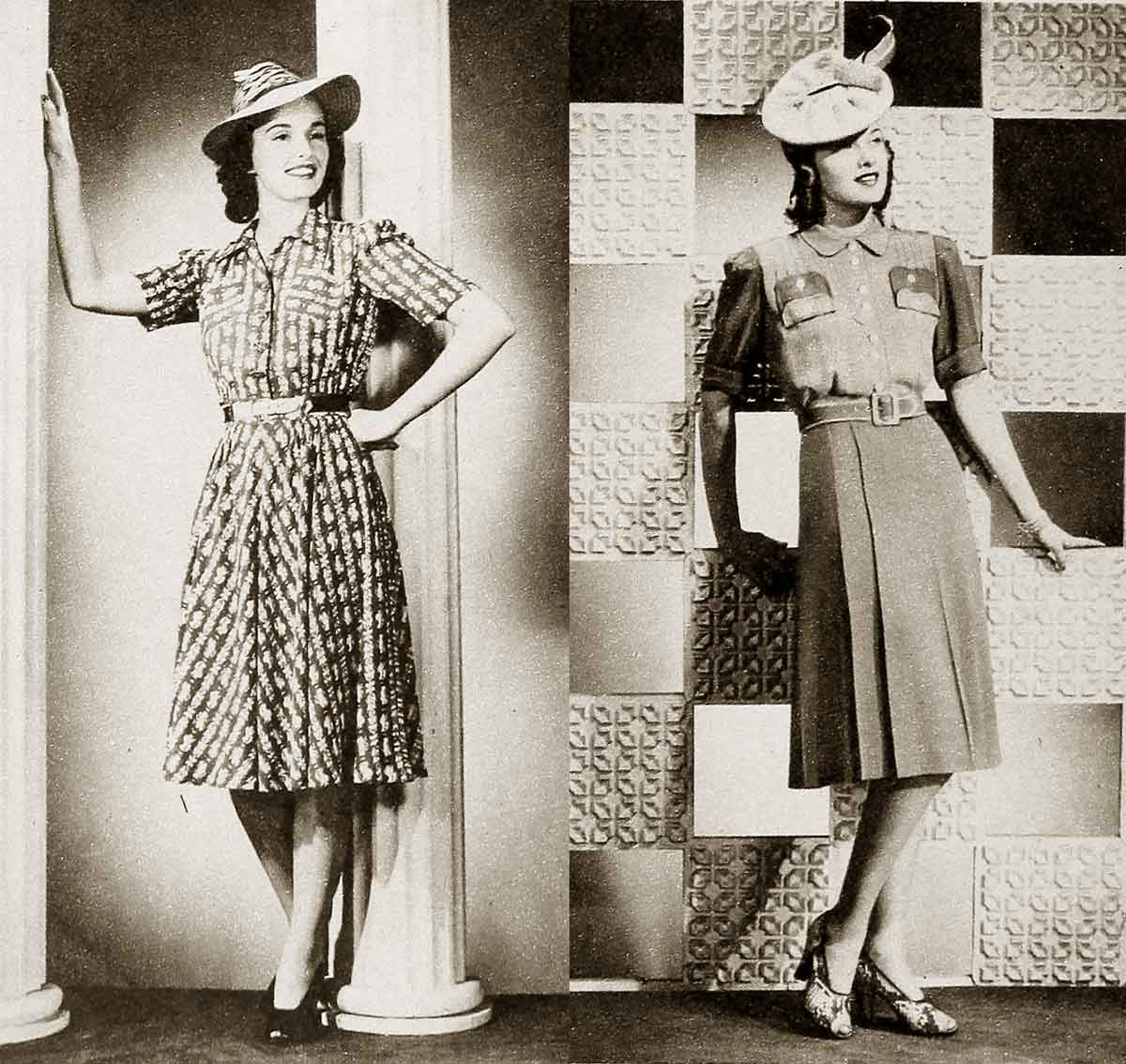 Winter fashion 1941 - Smart frocks and hats for early 1940's style