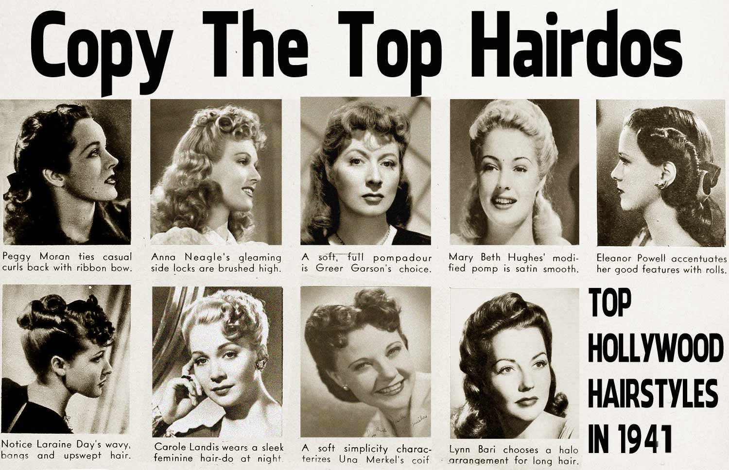 40s style hair 1940s hairstyle copy the top hairdos of 1941 daze 1937 | Top Hollywood Hairstyle Looks for 1941