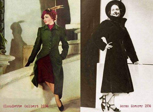 1930s-Fashion---Winter-Suits-in-1936---Claudette-Colbert-and-Norma-Shearer