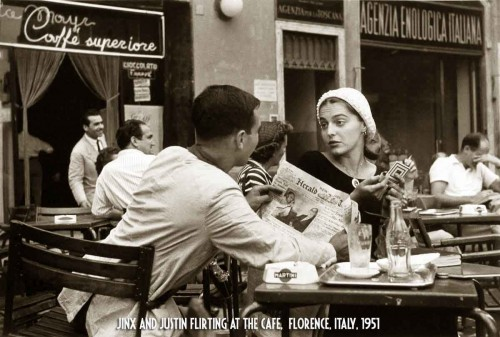 Jinx-and-Justin-Flirting-at-the-Cafe,'-Florence,-Italy,-1951
