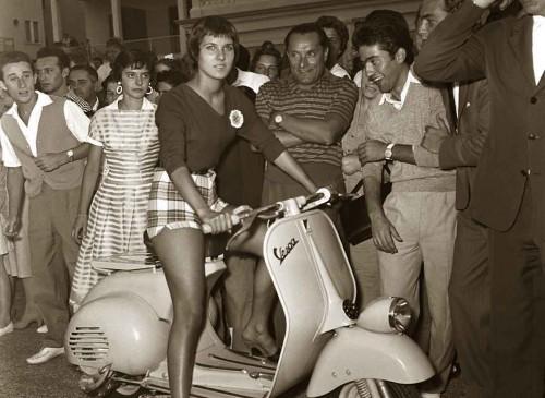Anna Tonella Autori on a Vespa - Rimini, Italy-1963-Ruth-Orkin