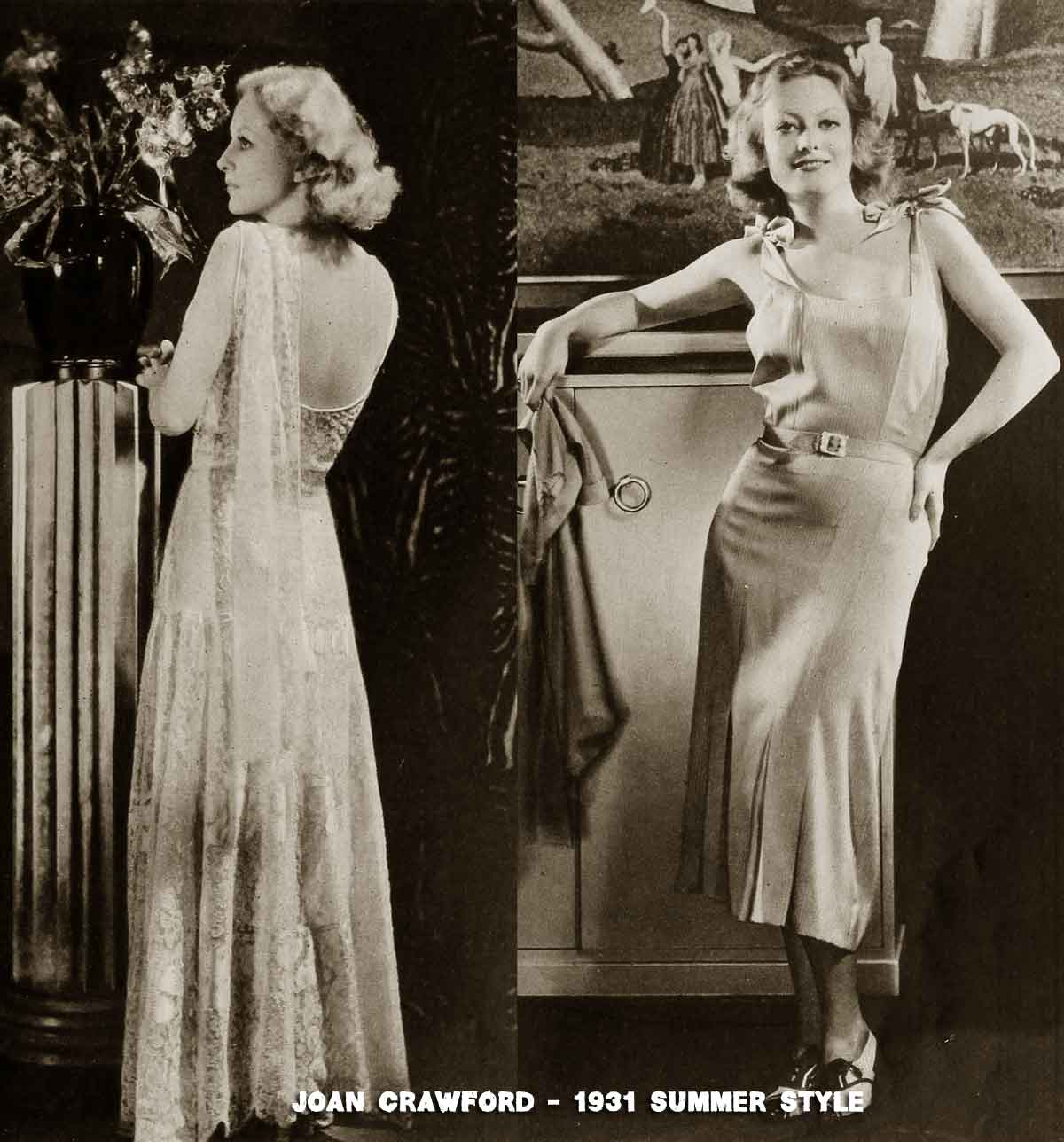 Two summer gowns by Joan Crawford in 1931