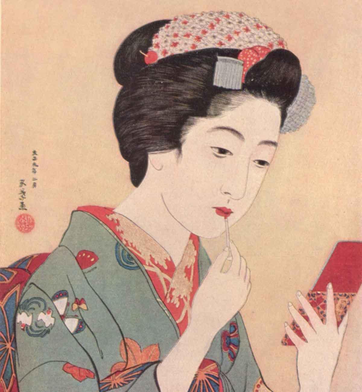 1920-Woman-applying-beni-lip-rouge
