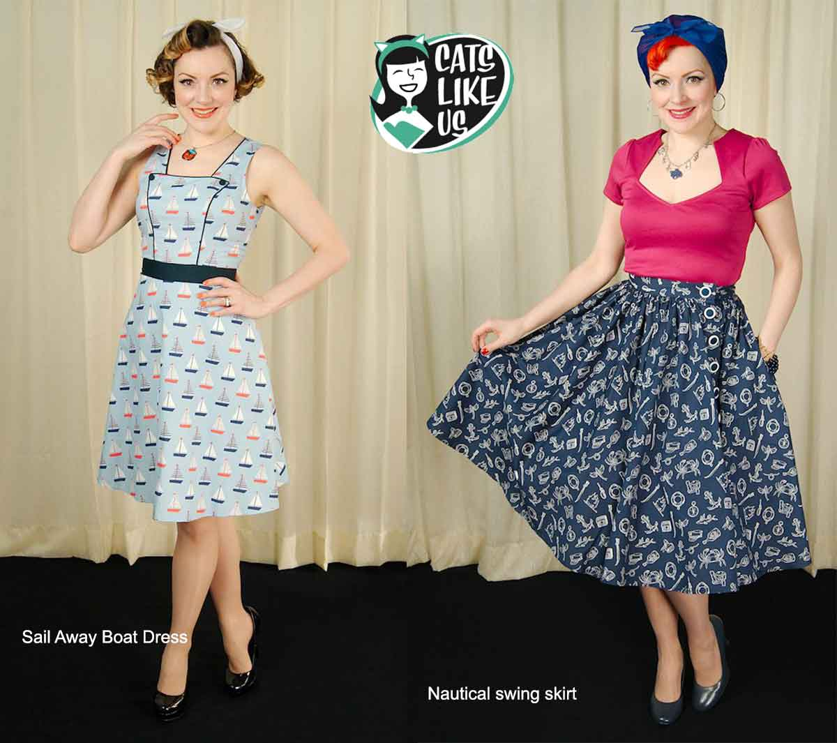 Cats-like-us---vintage-summer-style---nautical-swing-skirts-and-dresses