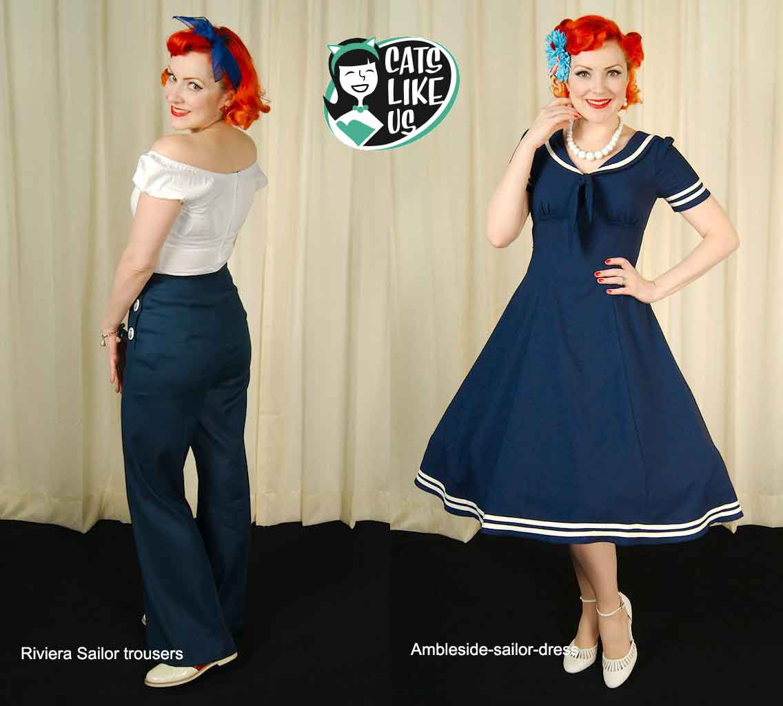 Cats-like-us---vintage-summer-style---nautical-trousers-and-dress