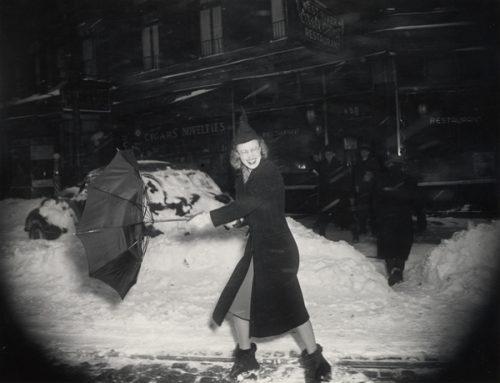 Woman with Broken Umbrella.