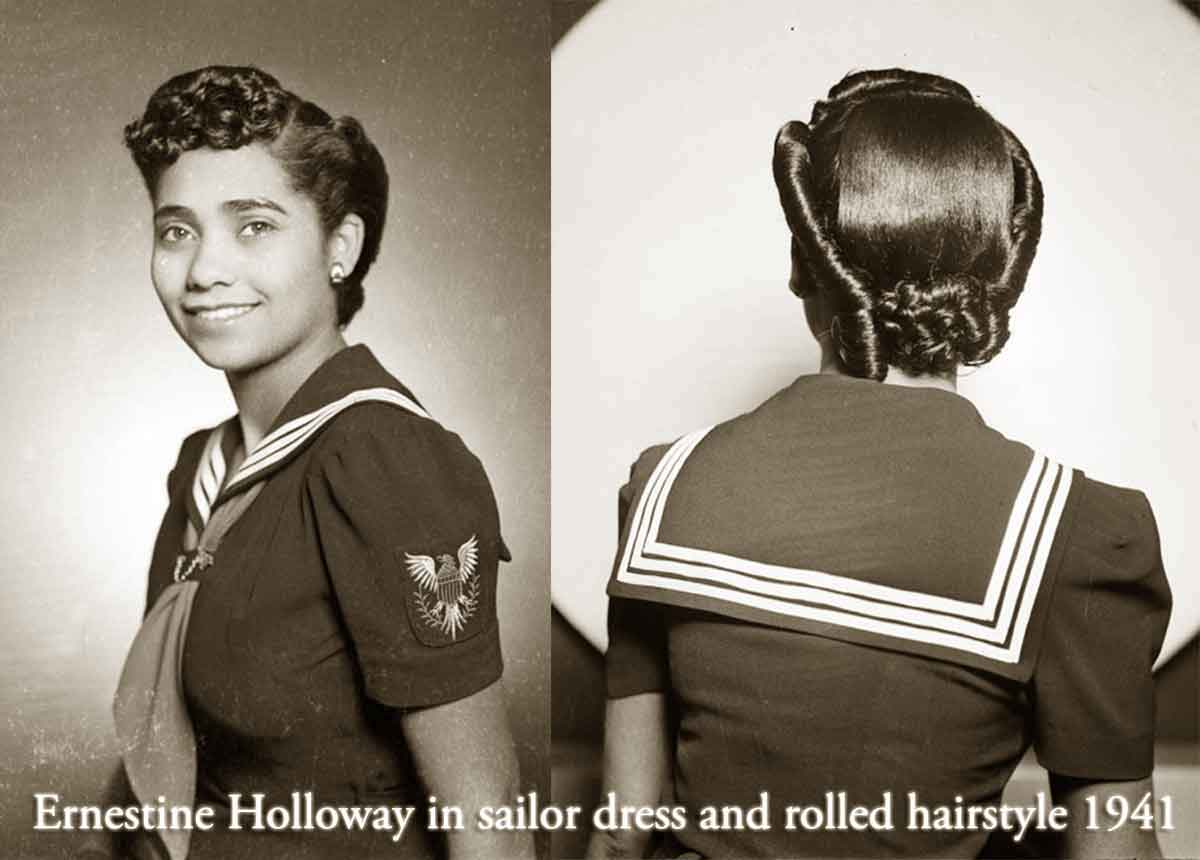1940s Black Fashion -Ernestine-Holloway-in-sailor-dress-and-rolled-hairstyle-1941