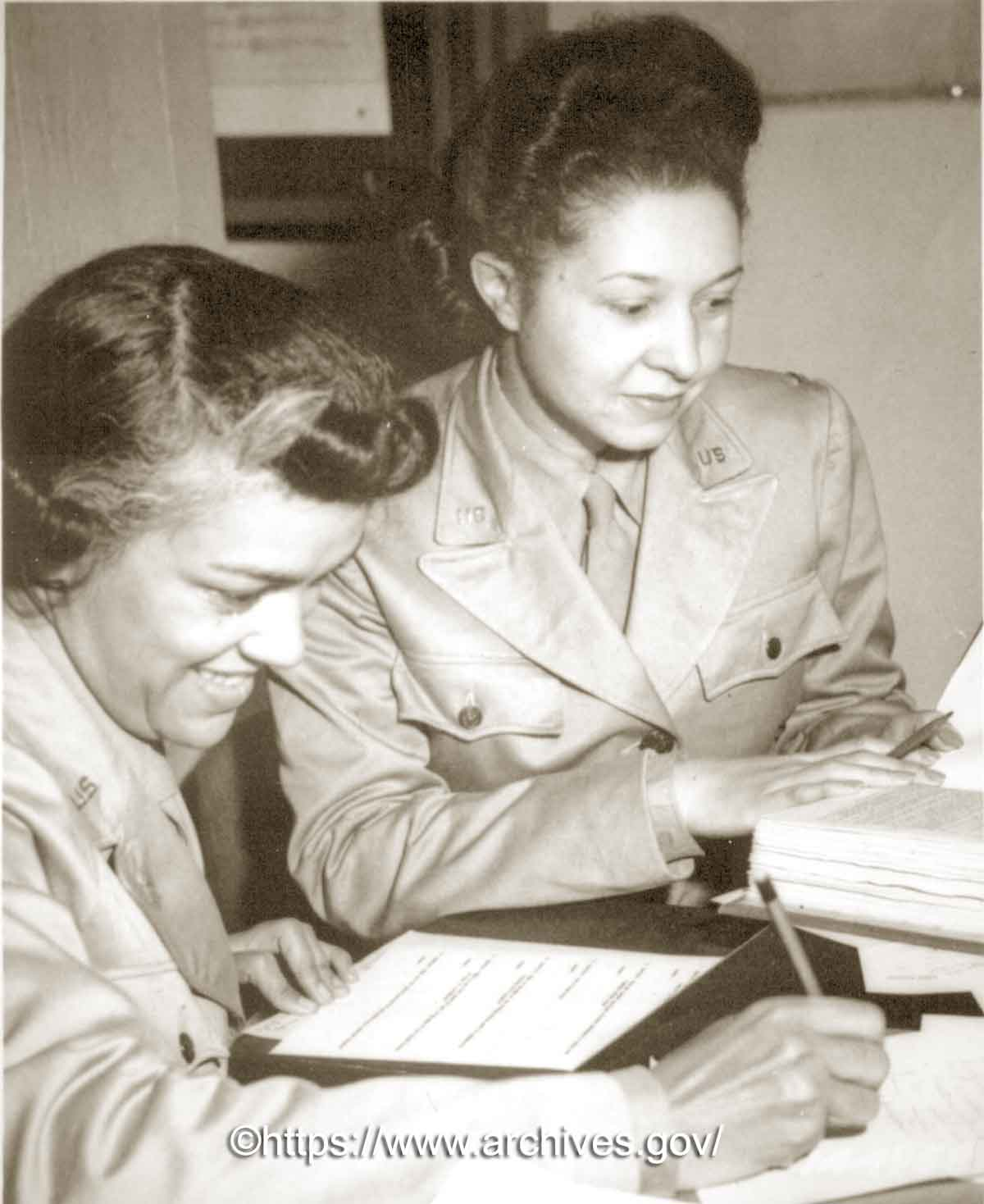 WAACs-at-work---Lts. Harriet West ( Harriet M Waddy) and Irma Cayton,