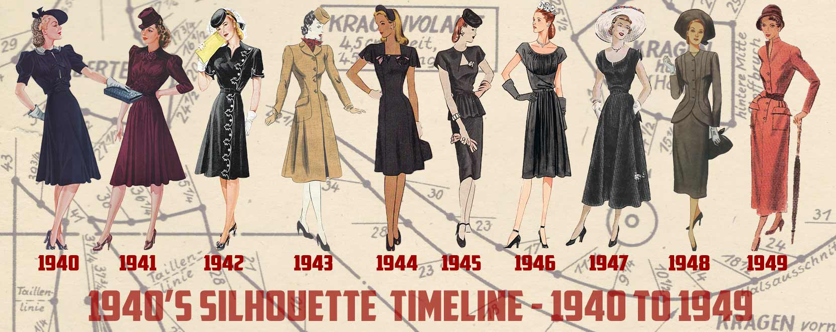 1940 and 1950 style dresses
