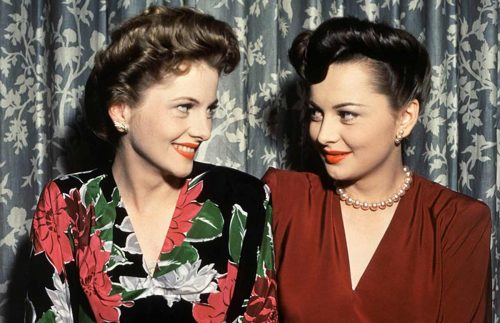 1940s Pompadour hairstyles - 1942 Hollywood sisters