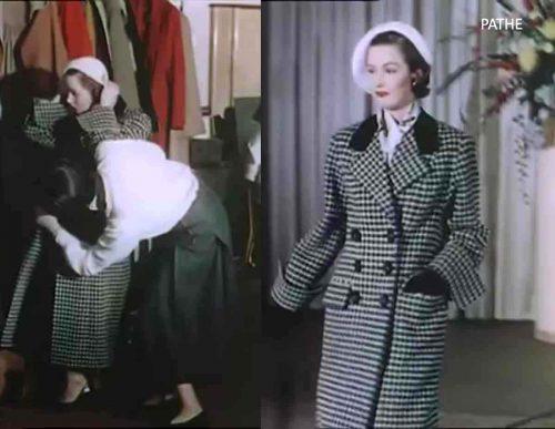 15-1950s-british-fashion-show-in-color-1951-elizabeth-hamilton-in-a-Mattli coat