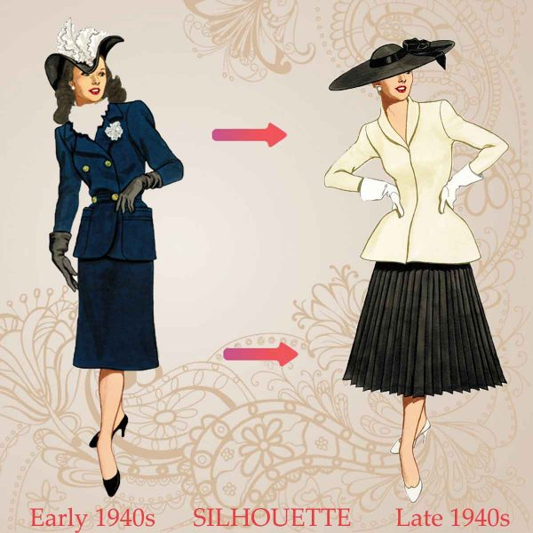 What women wore in the 1940's - the two distinct silhouettes