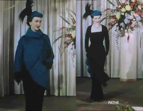 1950s-british-fashion-show-in-color-1951-digby-morton-ensemble