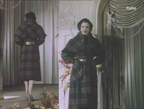 1950s-british-fashion-show-in-color-1951-worth-check-coat