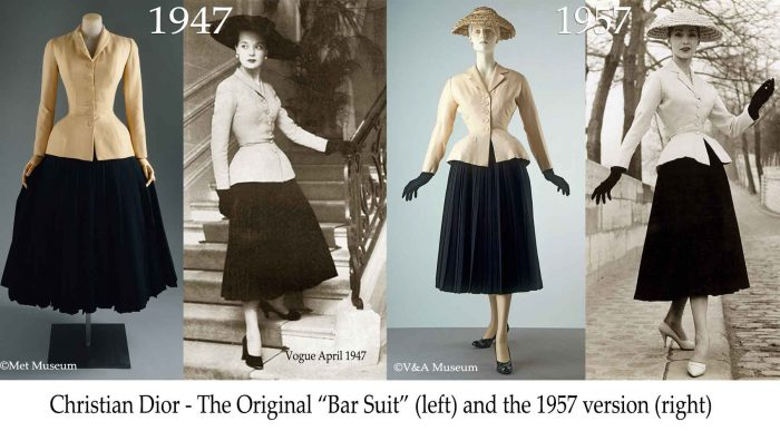 Christian Dior - Bar Suit - 1947 vs 1957 version