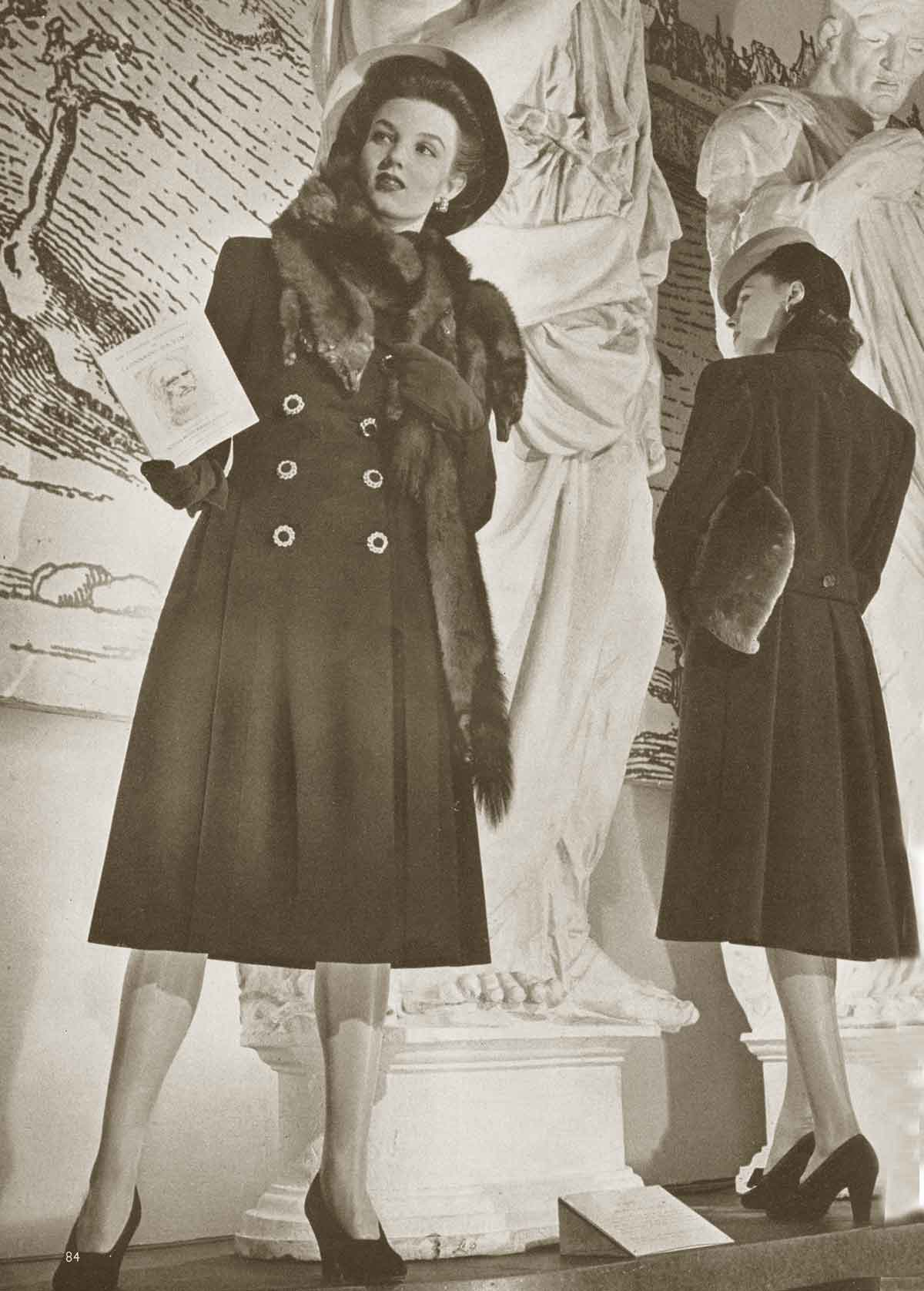 1940s Fashion What Did Women Wear In The 1940s: 1940 Vogue Fashion - Winter Coats And Dresses