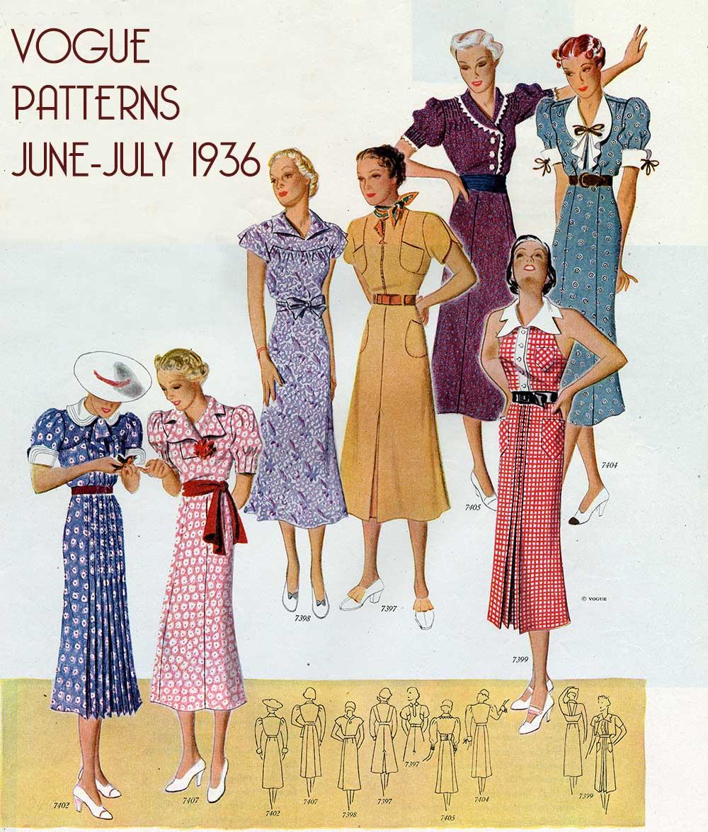 Vogue-Pattern-Book---JUne-July-1936---day-dresses