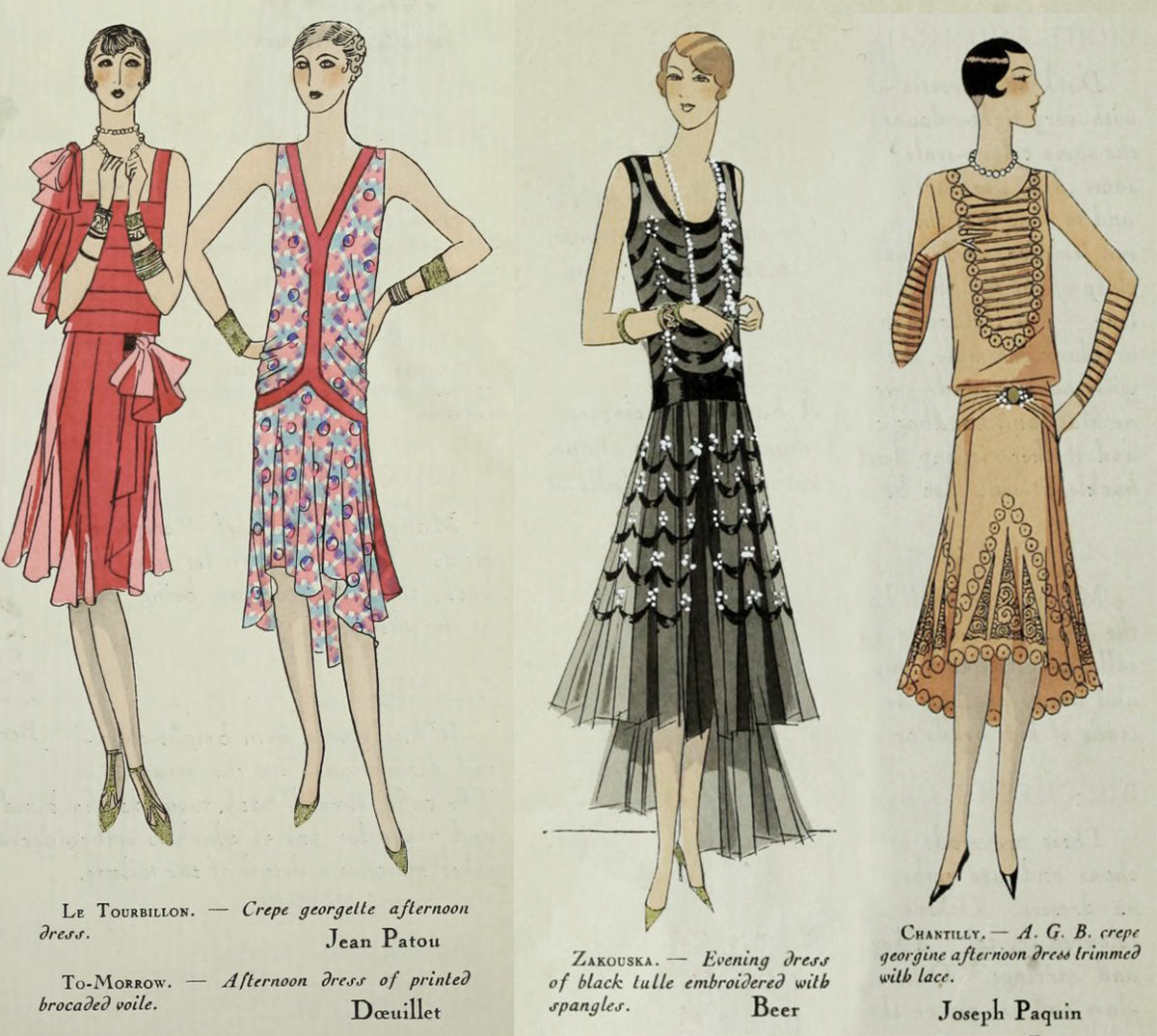 1920s Fashion - Paris 1928 - Patou and Paquin