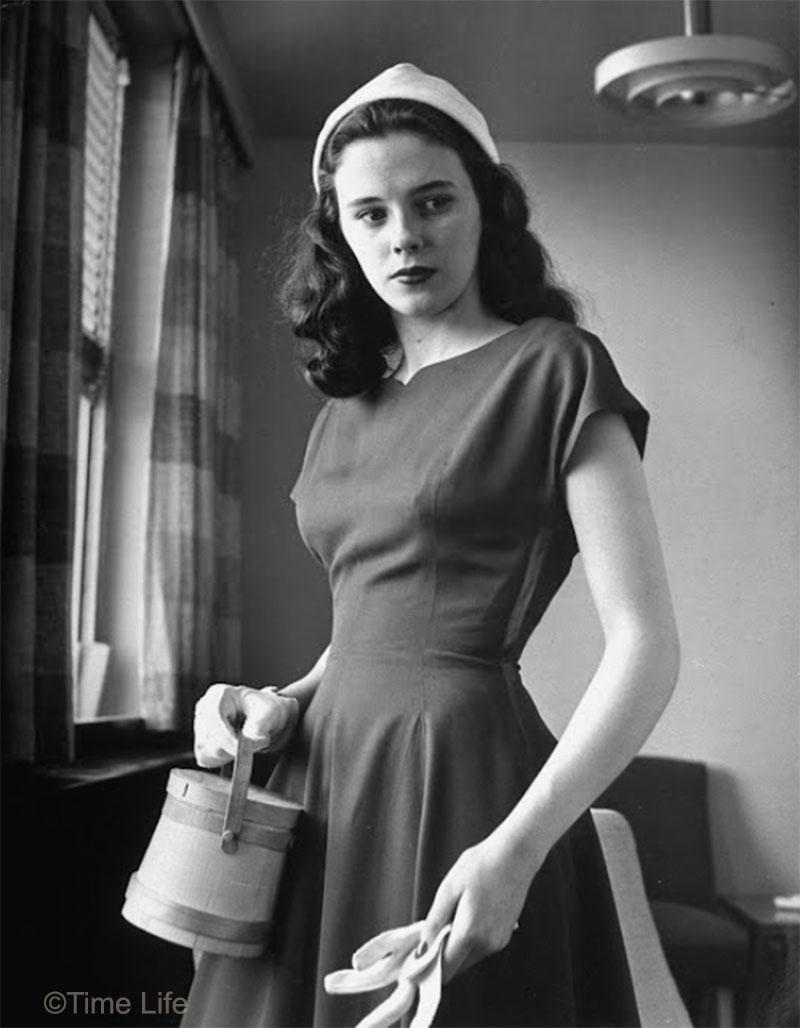 1940s-College-Style - gabardine dress - Madeline Balcar