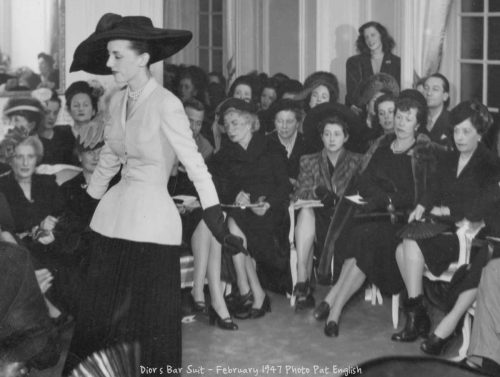 Dior premieres his iconic bar suit in February 1947- ©Pat English
