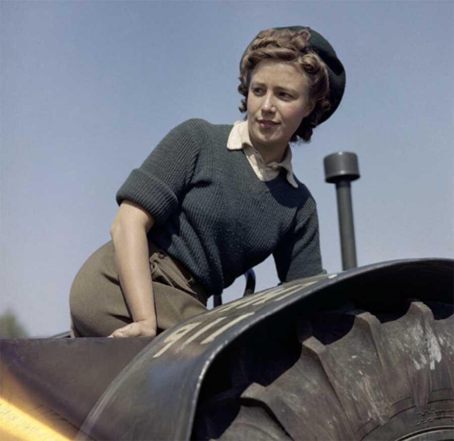 Land Girl Doreen Bacchus operates a tractor