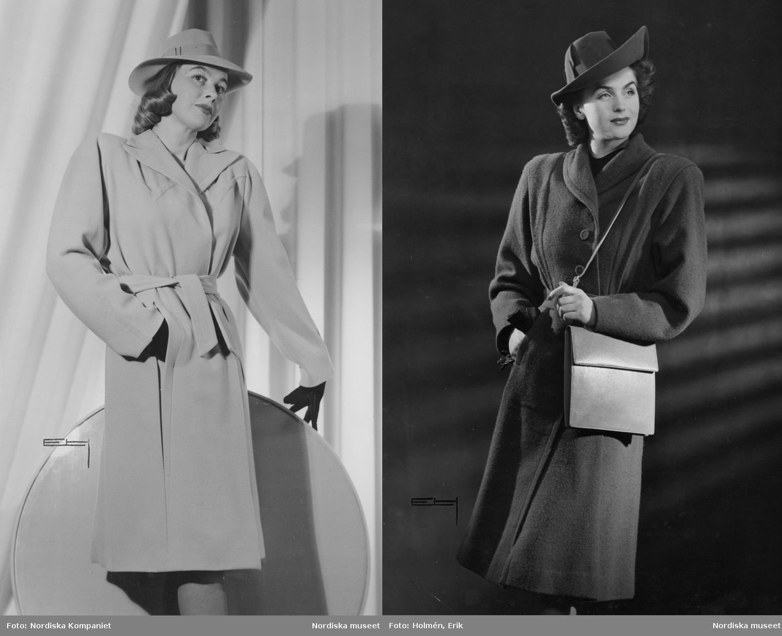 Popular-1940s-single-belted-mannish-coat-and-hat-fashions-1943
