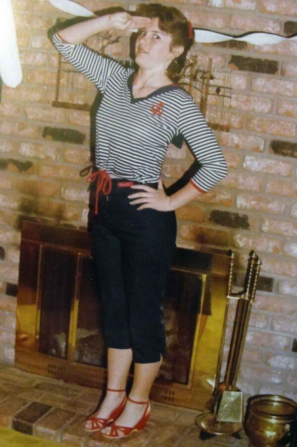 1980s breton top and capri pants
