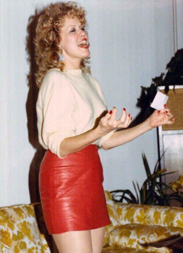 1980s fashion - leather miniskirt