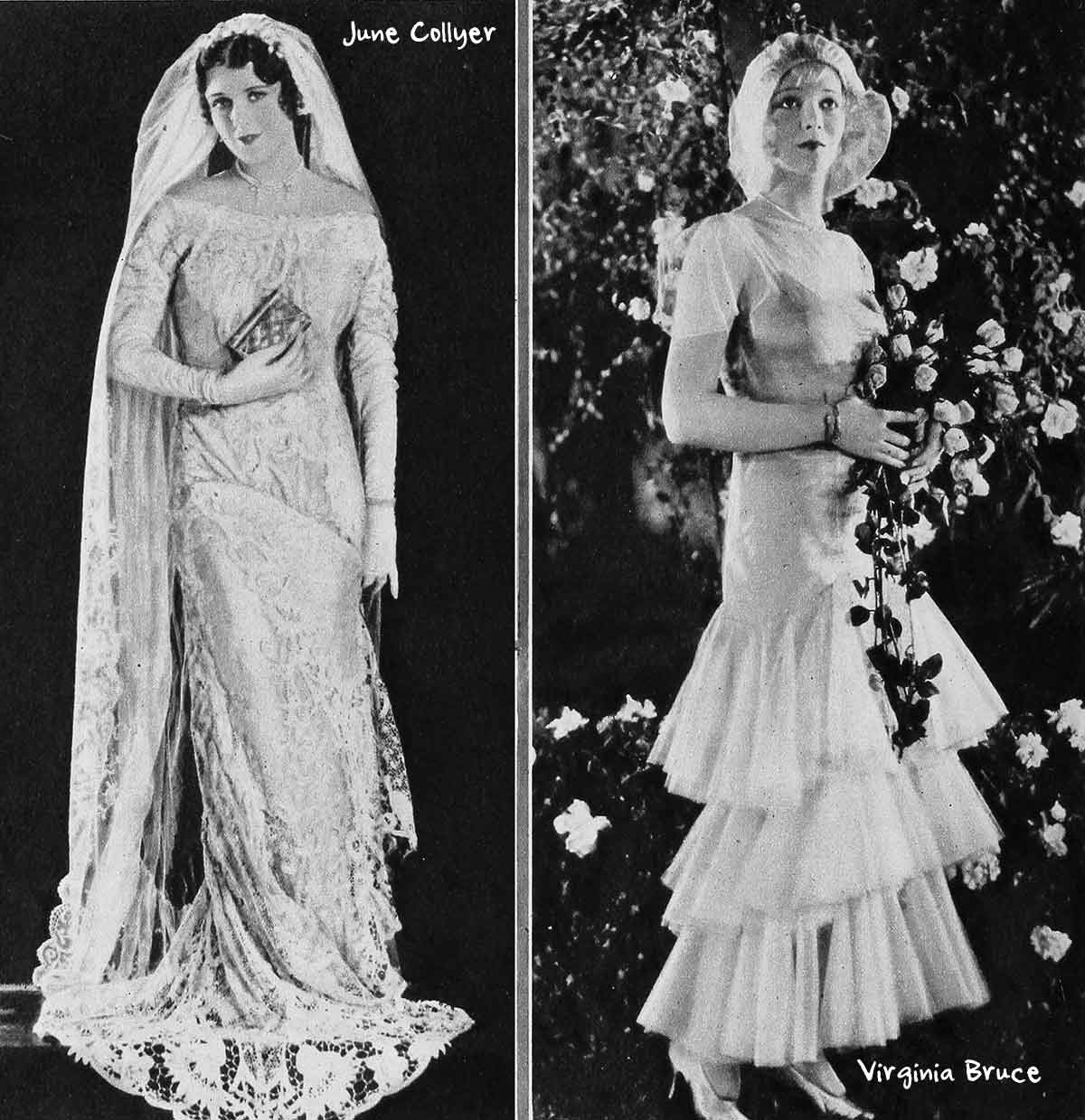1930s-Fashion---Hollywood-Bridal-Costumes---June-Collyer-and-Virgina-bruce