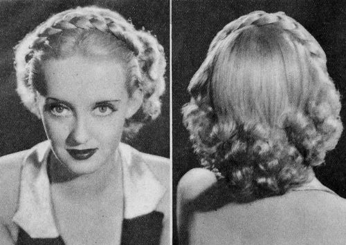 1930s-hairstyles - hair braids - Bette Davis