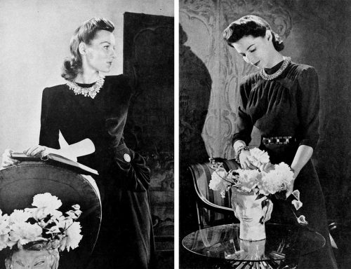1940s-Fashion---Dark Fall Dresses in 1940