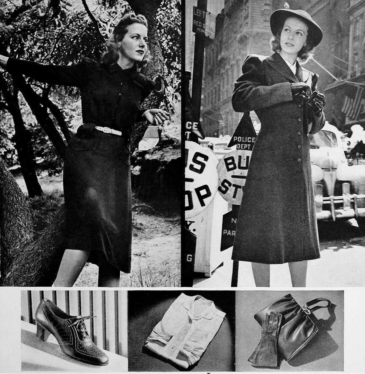 1940s-Fashion---Fall-Dresses and coats-in-1940