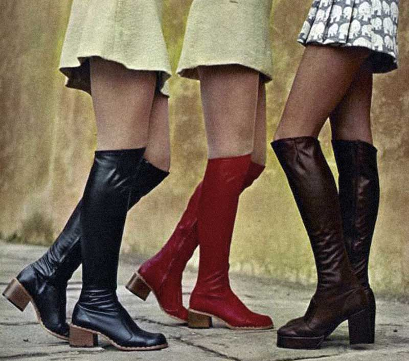 mini skirts and boots in the late 1960's