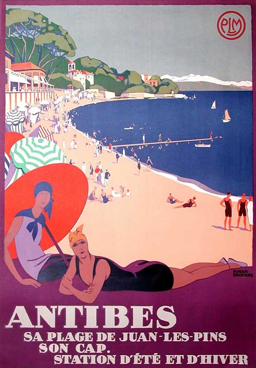 1920s swimwear fashion - beach resport poster - Antibes