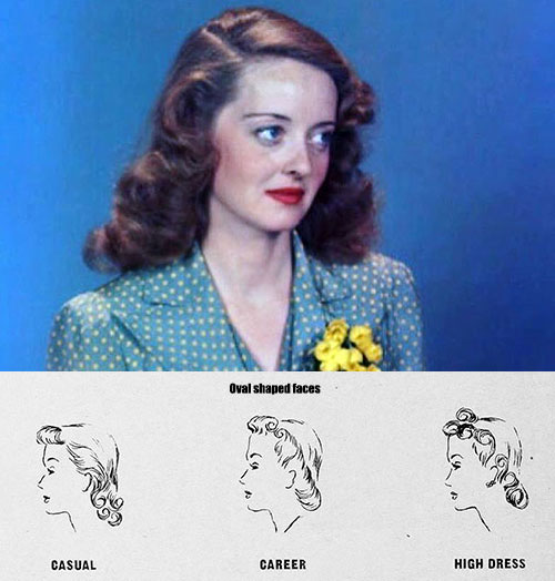 Hairstyle for face shape-Oval-Faces---Bette-Davis