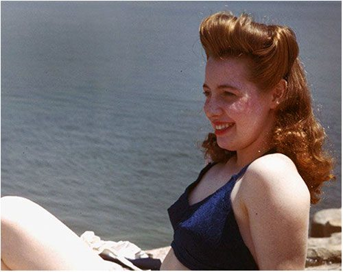Victory rolls - Mary Jane 1944 - photo by Charles Cushman