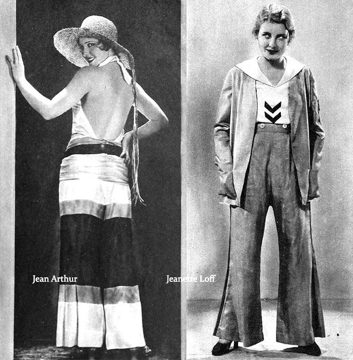 Beach Pajamas 1929---Jean-Arthur-and-Jeanette-Loff