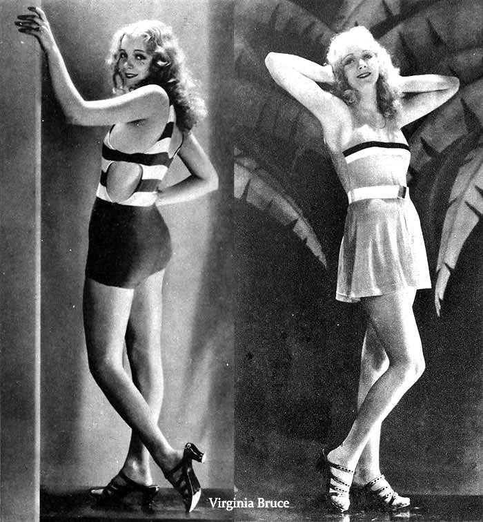 Virginia Bruce models the latest bathing suits in 1929