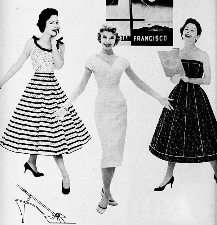 3 vintage summer dresses 1956