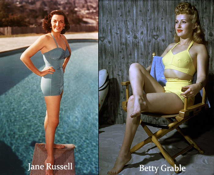 Beautiful-1940's-Swimsuit-Legs-of-Hollywood---Jane-Russell-and-Betty-Grable