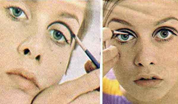 Twiggy makeup look - step one