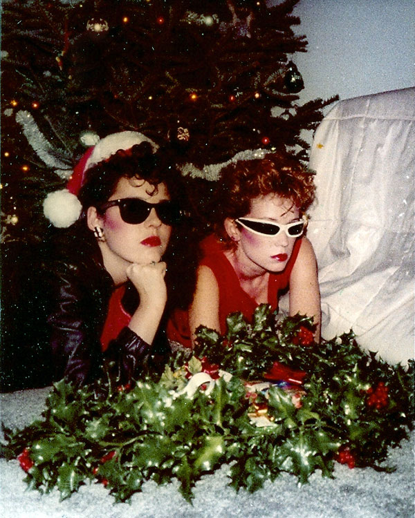 Two punk girls at Christmas 1980's