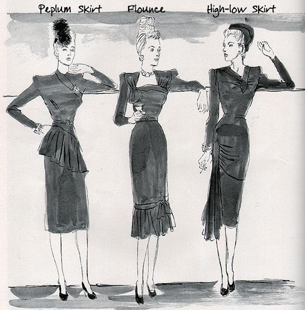 Skirt-types---1940s---peplum---flounce---high-low