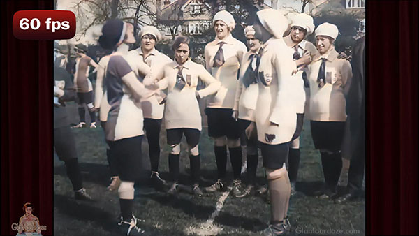 ladies football match in 1918. Early film