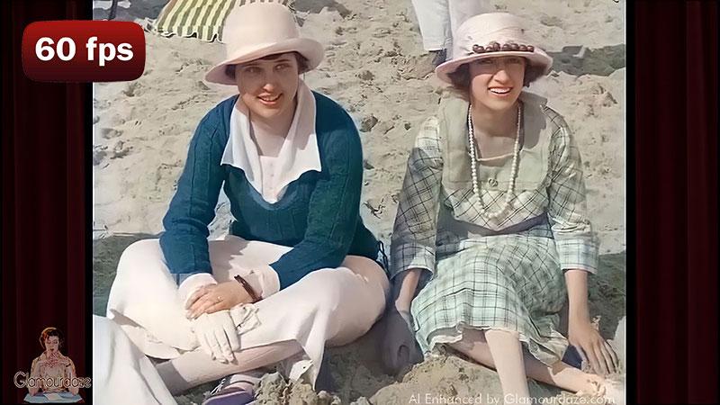 Palm beach society in 1920. AI enhanced film